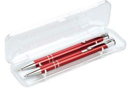 Dárková sada - hliníková v barvě červené v kombinaci mikrotužka a kuličkové pero v průhledném plastovém boxu.