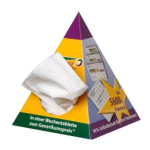 Papírové kapesníčky v jehlanu