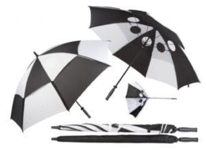 Černobílý větruodolný golfový deštník