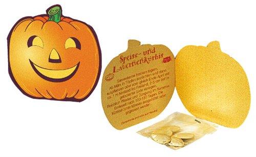 Halloweenská reklamní kartička se semínky